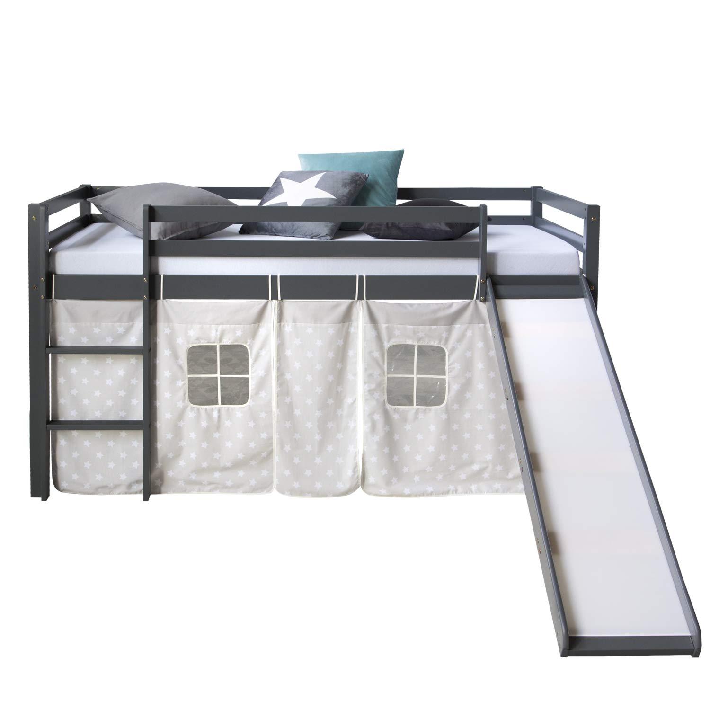 Homestyle4u 1871, Kinderbett 90x200 Grau, Hochbett mit Rutsche, Sternen Vorhang, Holz