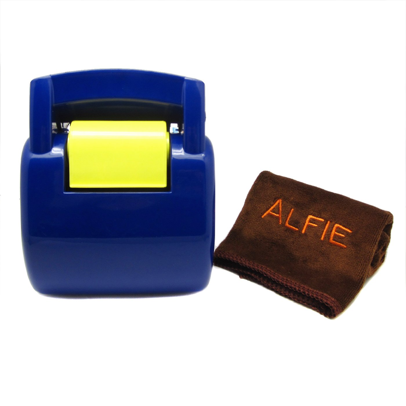 Alfie Pet by Petoga Couture - JAC Pet Waste Pickup Tool with Bag Dispenser and Bags with Microfiber Fast-Dry Washcloth Set - Color: Blue and Yellow