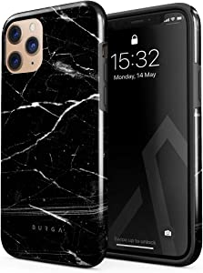 BURGA Phone Case Compatible with iPhone 11 PRO MAX - Noir Origin Black Marble Cute Case for Women Heavy Duty Shockproof Dual Layer Hard Shell + Silicone Protective Cover