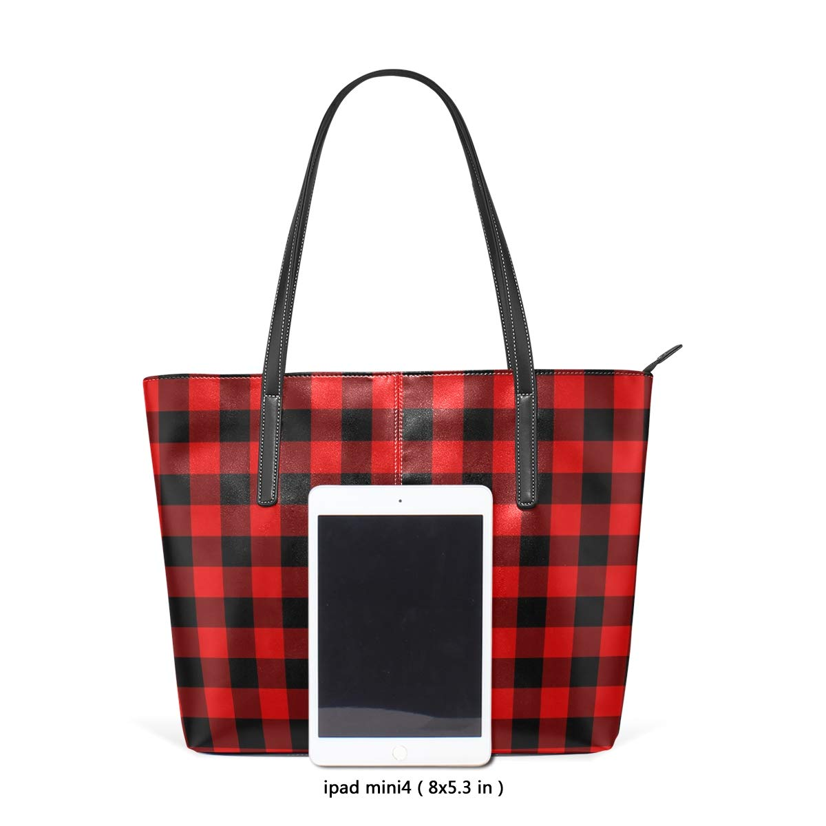 c961fa13726c Women PU Leather Tote Black Red Buffalo Plaid Shoulder Bag  Handbags  Amazon .com