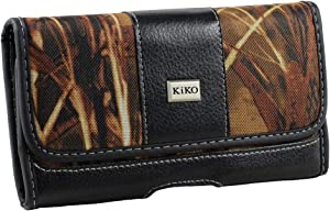 Kiko Camouflage Hunter Camo Design Deluxe Horizontal Pouch for Apple iPhone 8, 7, 6S, 6 with Otterbox Defender Cover on, Carry Holester Belt Clip with Dual Double Belt Hook Loop