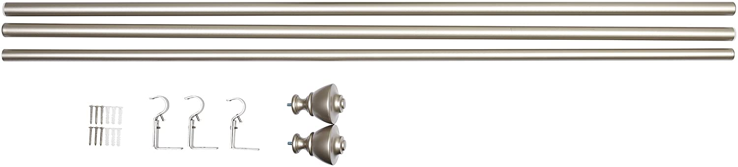 "AmazonBasics 1"" Curtain Rod with Urn Finials, 72"" to 144"", Nickel"