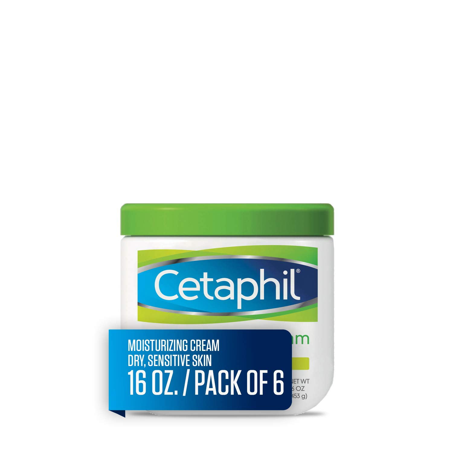 Cetaphil Moisturizing Cream for Very Dry/Sensitive Skin, Fragrance Free, 16 Ounce, Pack of 6