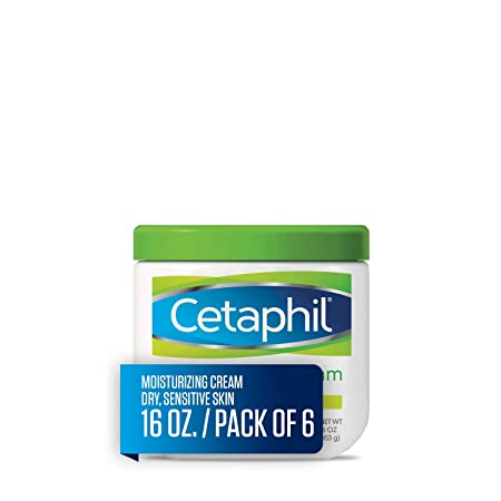 Cetaphil Moisturizing Cream for Very Dry Sensitive Skin, Fragrance Free, 16 Ounce, Pack of 6