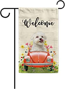 BAGEYOU Welcome Spring Dog Garden Flag Lovely Maltese Driving a Vintage Car Summer Flowers and Lawn Decor Home Banner for Outside 12.5x18 Inch Print Both Sides