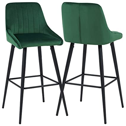 Terrific Duhome Elegant Lifestyle Bar Stools Counter Height Set Of 2 Barstools Velvet Stool Modern Bar Chairs With Green Bar Stool Kitchen Counter Stools Gmtry Best Dining Table And Chair Ideas Images Gmtryco