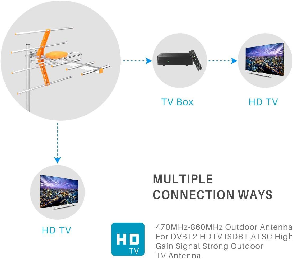 Winbang Antena de TV al aire libre, Antena al aire libre Alta ganancia Antena HDTV Amplificador digital en el ático al aire libre HDTV Wirth 21-69 ...