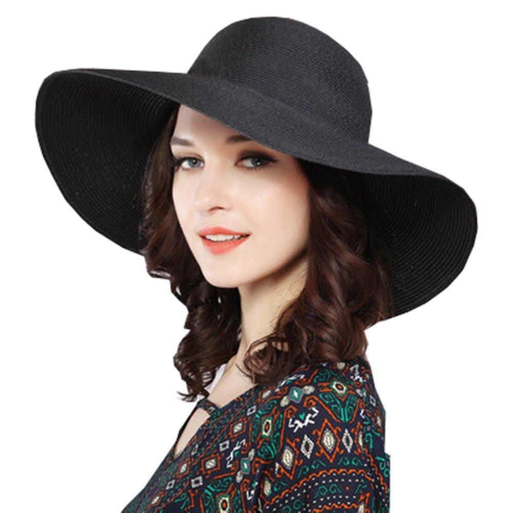 ZZCC Beach summer wide foldable sun hat for women Black