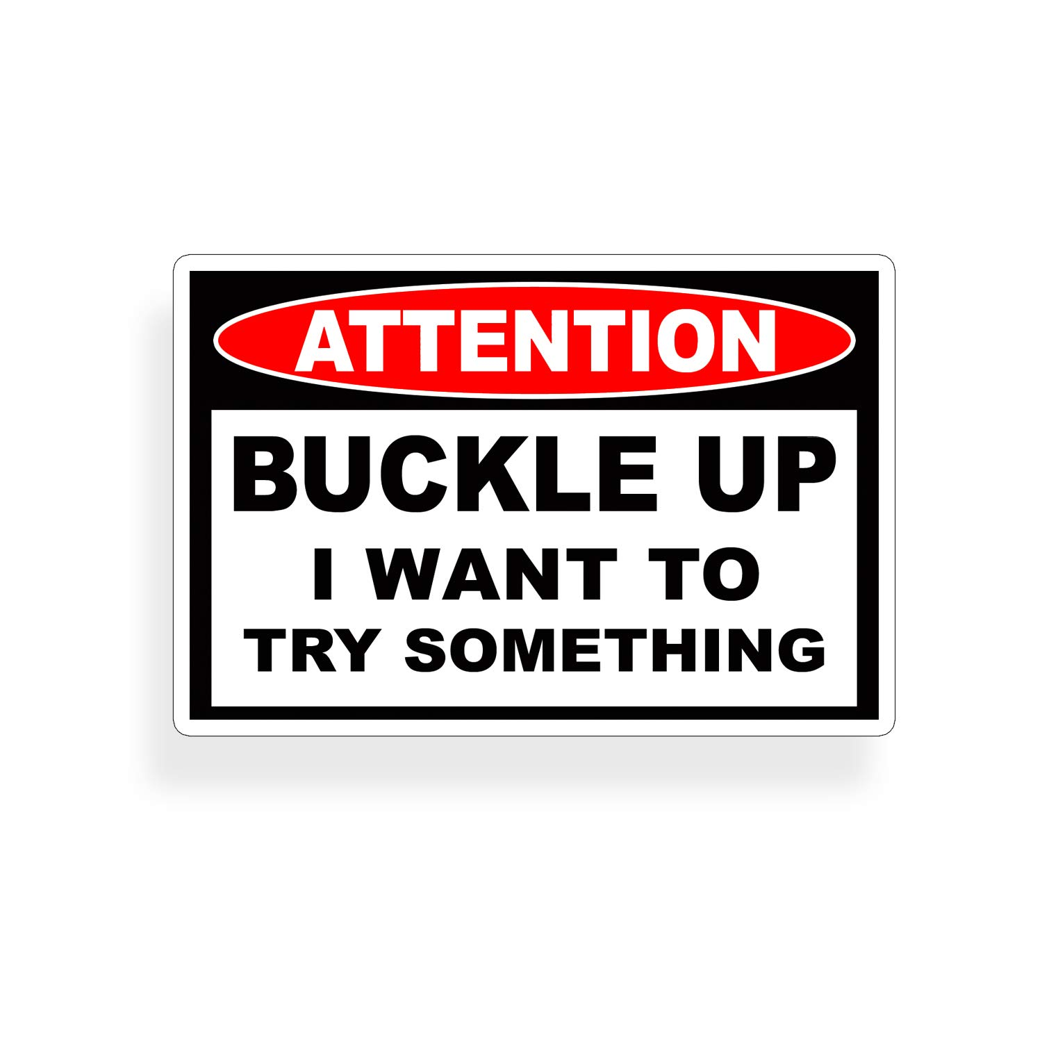 Amazon com buckle up i want to try something stunt decal sticker automotive