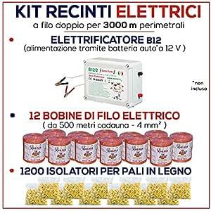 Kit de valla eléctrica 3000MT–electrificateur B/12V + isolateurs + inalámbrico