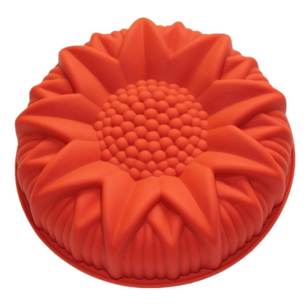 Allforhome (TM) 9 inch Round Sunflower Silicone Birthday Cake Baking Pans Handmade Bread Loaf Pizza Toast Tray Silicone Cake Baking Molds Cake DIY Moulds Non-stick Silicone Bakeware Moules à Gteaux KKTPY0881