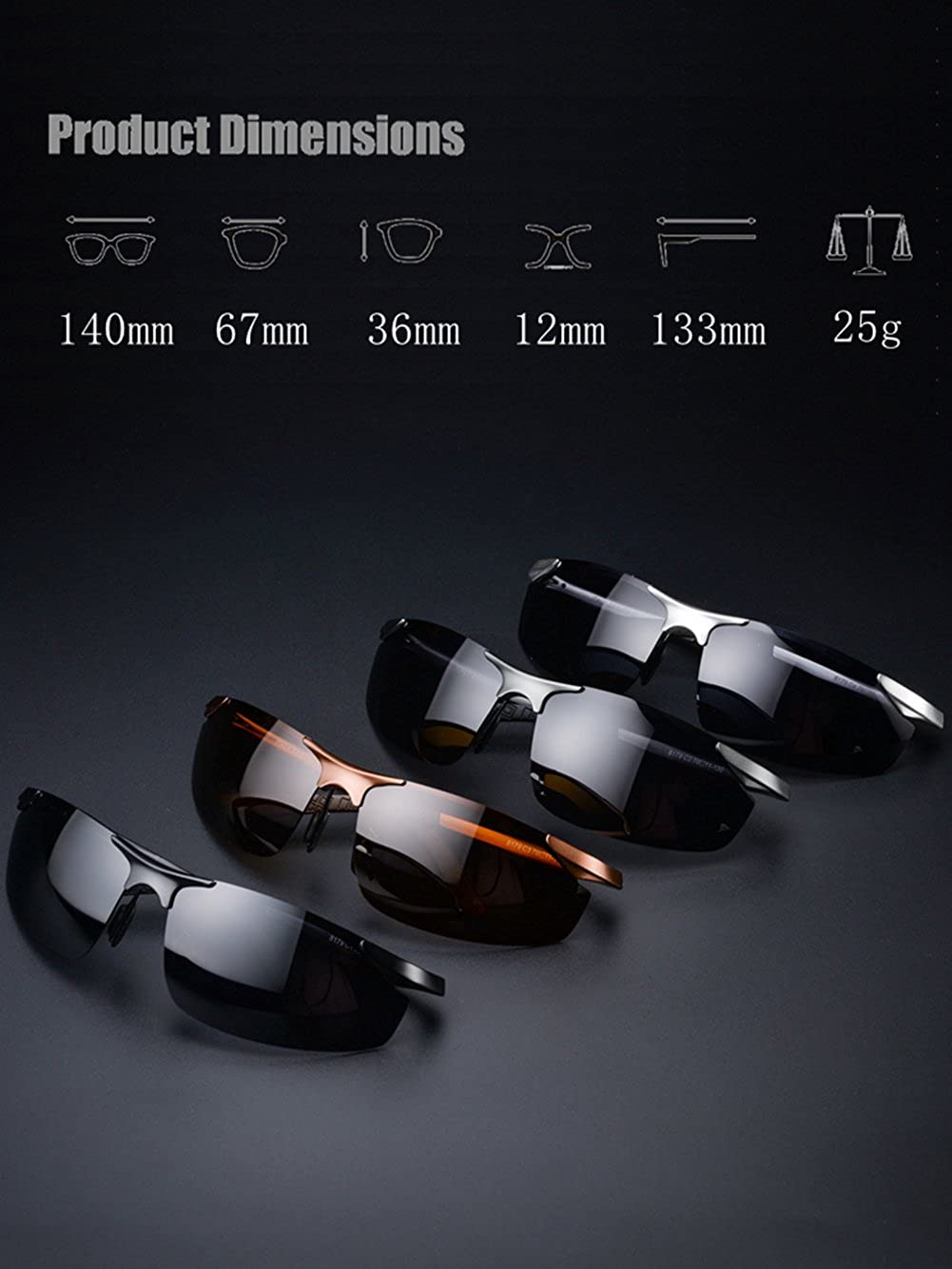LUOMON Mens Polarized Wrap-Around Sport Sunglasses with 67mm Lens Unbreakable Frame LM8179