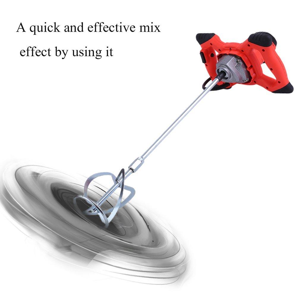 Rojo Blackpoolal 1200 W Mezclador de mortero para Mezclar Dispositivos Mortero Hormigonera batidora Mano Agitador para Mezclar Dispositivo ruehrwerk moertelr uehrer Cemento batidora