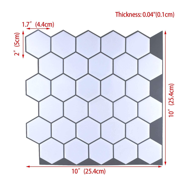 "Carrara Marble Backsplash,HONJAN Renters Groutless Removable Adhesive White Hexagon Vinyl Backsplash for Kitchen Bathroom 10""x10"" Pack of 13 (A) by HONJAN (Image #2)"