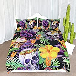 ARIGHTEX 3 Piece Tropical Skull Bedding Set Rainforest Exotic Skull Duvet Cover Green Purple Jungle Monstera Deliciosa Palm Leaves Bedding (Twin)