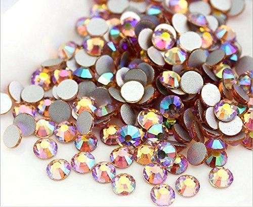 Jollin Glue Fix Flatback Rhinestones Glass Diamantes Gems For Nail Art (ss16 576pcs, Topaz AB)