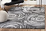 """SUMMIT BY WHITE MOUNTAIN Summit PI-YZKB-L9KC Chatham 213 Modern Abstract Area Rug Aprox (7′.4"""" X 6"""", Grey), 7′.4"""" X 10′.6"""""""