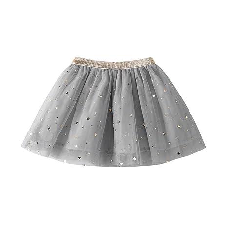 feiXIANG Ropa Infantil Niña Princesa Vestido Estrella Lentejuelas Princesa Tutu Fiesta de la Moda Falda de