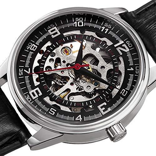 Akribos XXIV Men's AK410SS 'Saturnos' Skeleton Automatic Leather Strap Watch