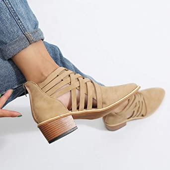 Zapatos Mujer Otoño Invierno JiaMeng Moda Botas de Nieve Botines Zapatos de otoño Tobillo sólido Romano Botas Cortas Zapatos Individuales: Amazon.es: Ropa y ...