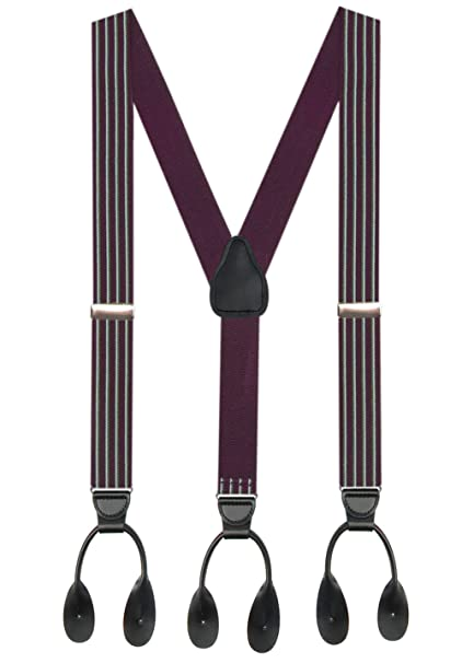 Men's Vintage Christmas Gift Ideas Hold'Em 1 ¼ Fancy Stripes and Solid Suspenders for Men – Y-Back Adjustable Leather Trimmed Button End $23.99 AT vintagedancer.com