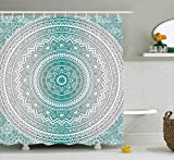Ambesonne Grey and Teal Shower Curtain, Mandala Ombre Design Sacred Space Geometric Center Point Boho Meditation Art, Fabric Bathroom Decor Set with Hooks, 75 Inches Long, Grey Teal