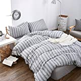 MKXI Modern Duvet Cover Grey Stripes Pattern Jacquard Cozy Cotton Bedding Set Queen
