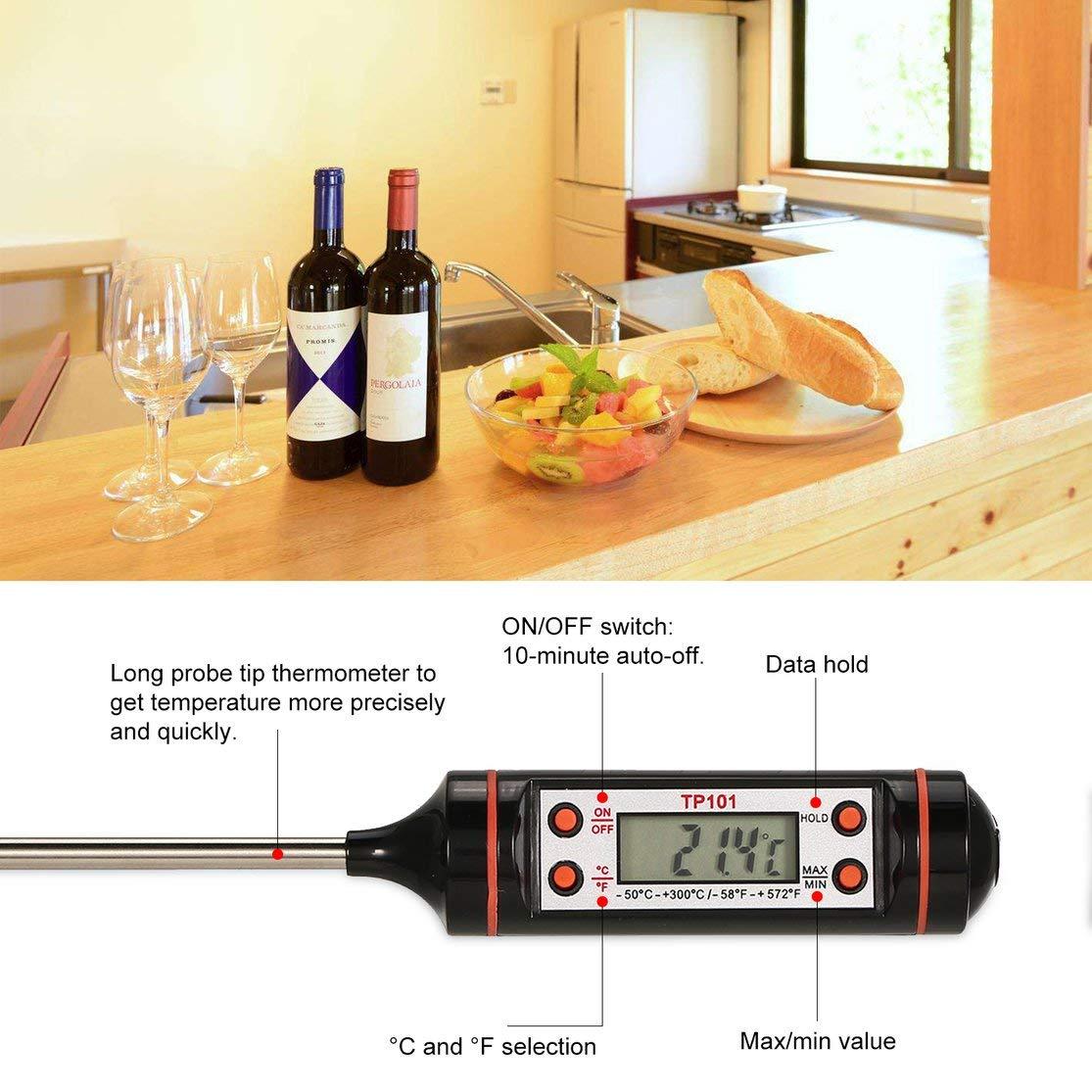 Term/ómetro de cocci/ón digital con sonda larga para cocina Agua Leche Barbacoa Fumador /° C Color: negro /° F Medidor de temperatura de retenci/ón de datos Kaemma