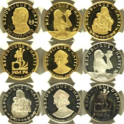 HT 1973 Haiti 1973 Set 9 Gold Silver Coins Gourdes Proof PF 65-68 Ultra Cameo