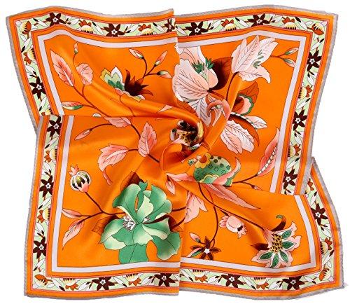 Grace Scarves 100% Silk Scarf, Petite Square, Charmeuse, Elegant Bouquet, Orange