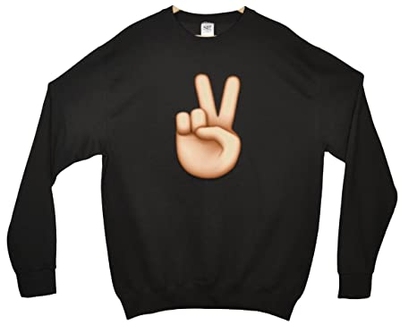 Peace Sign Hand Emoji Sweatshirt: Amazon co uk: Clothing