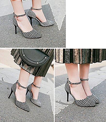 42 Tamaño ZJM Pink Color lino de femeninos de mujeres de del alto 34 las magnífico tela Sandalias de ocasionales Negro zapatos tacón fino la 42 blanco verano rx1rgnSq