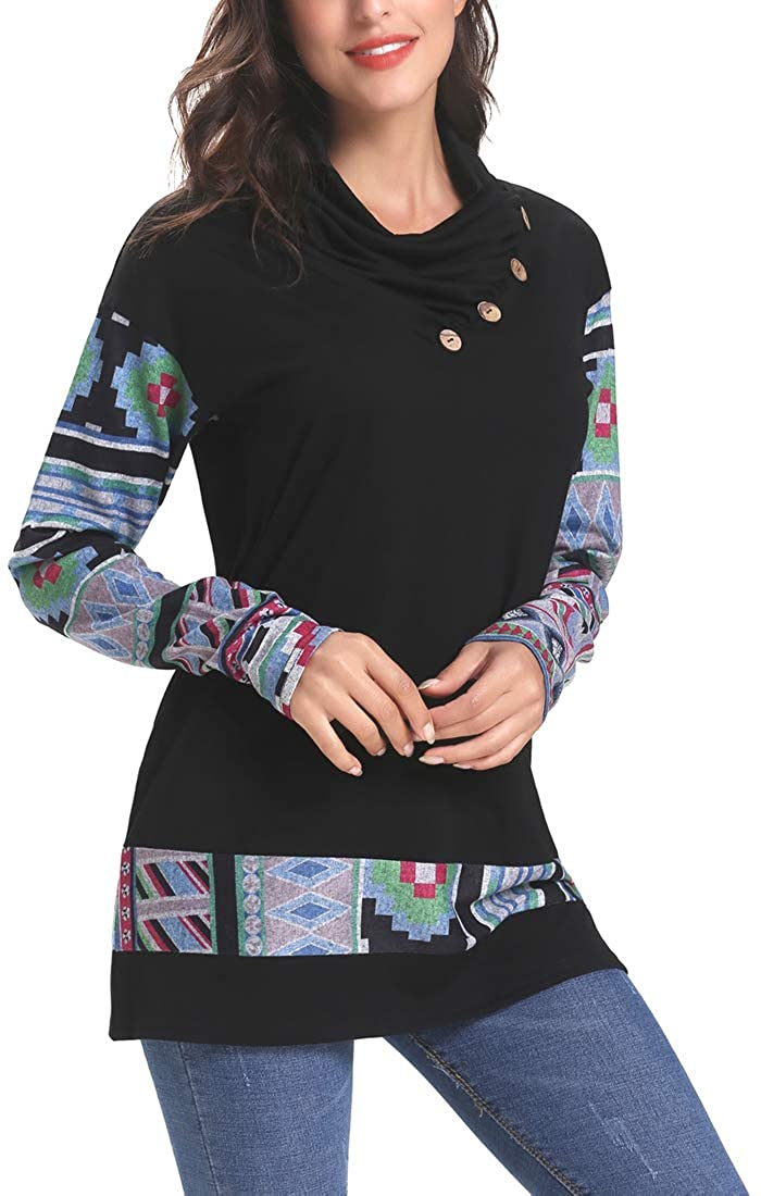 Black Sipaya Women's Floral Printed Long Sleeve Button Cowl Neck Hoodies Sweatshirts