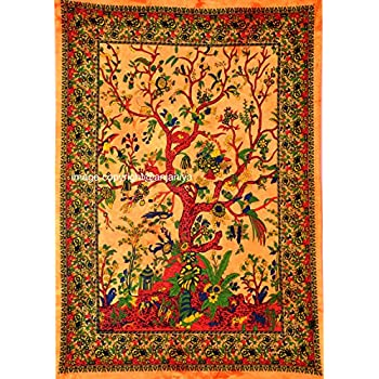ANJANIYA Tree of Life Beautiful Bohemian Room Dorm Decor Hippie Indian Tie Dye Small Boho Tapestry Psychedelic Poster Size 40