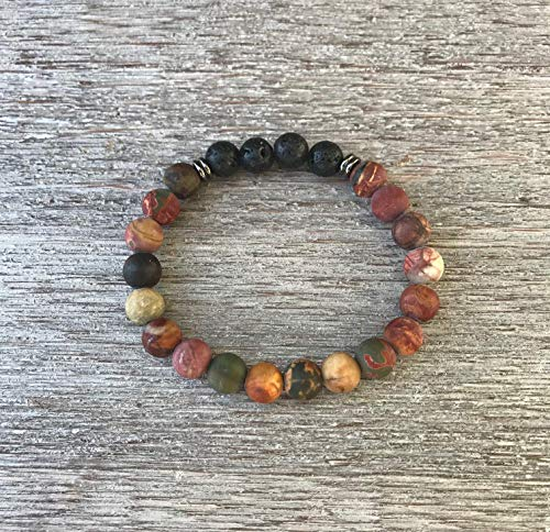 Red Creek Jasper and Lava Rock Aromatherapy Bracelet ()
