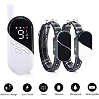 MASBRILL Rechargeable Dog Training Collar Set, Correct Pet Behavior by Beep Vibration Shock, Three Modes, Up to 1000Ft Remote Range, Equip IPX7 Waterproof Training Collar. No Harm, Suitable for Small Medium Big Dogs