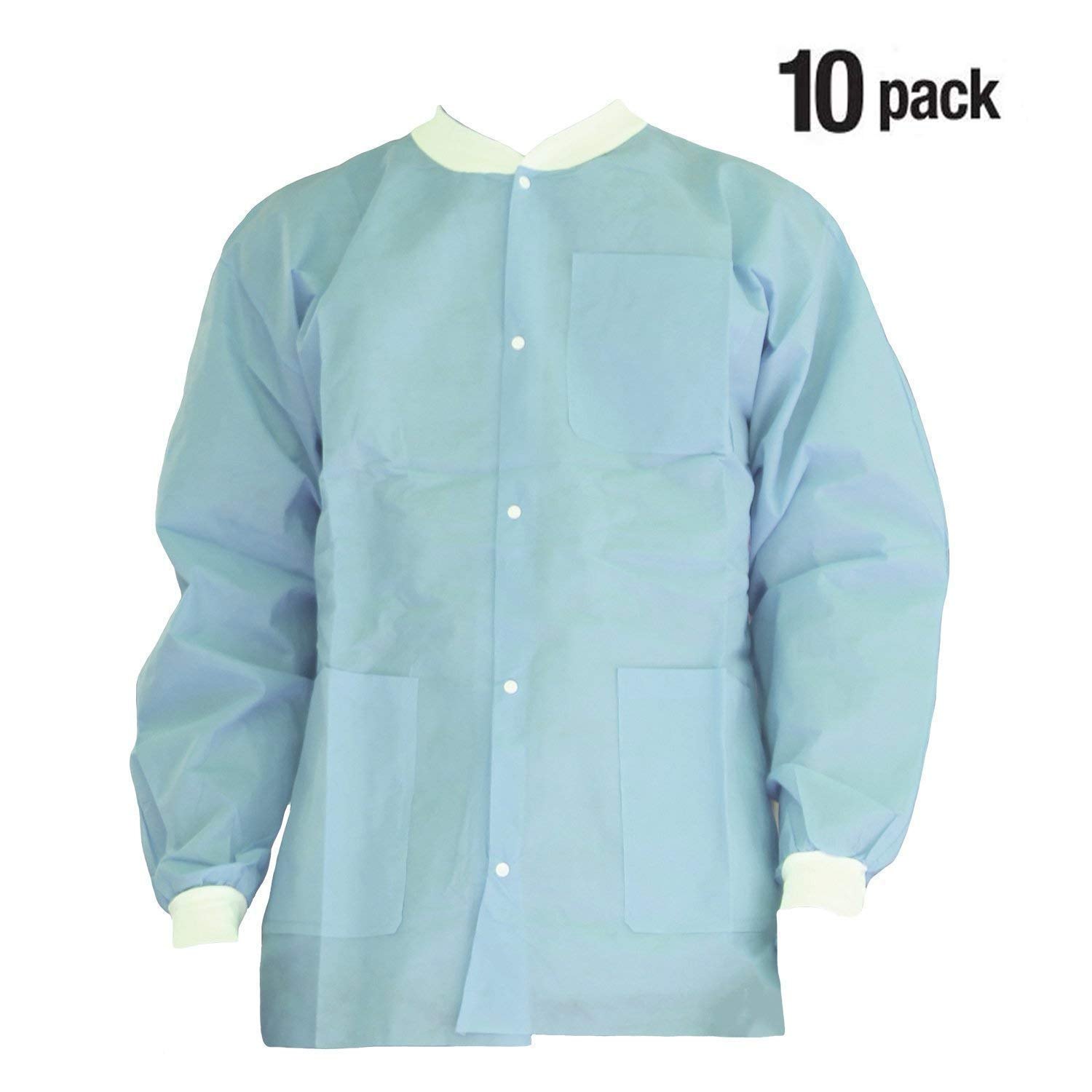 Premium Quality SMS Jacket for Medical Professionals, Made of SMS Soft Fabric 3 Layer, Lab Jacket Prevents Static, Latex Free, (10-pack) (Large, Ceil Blue)