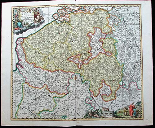 Belgium Holland Netherlands France c.1700 Visscher old antique map cartouche