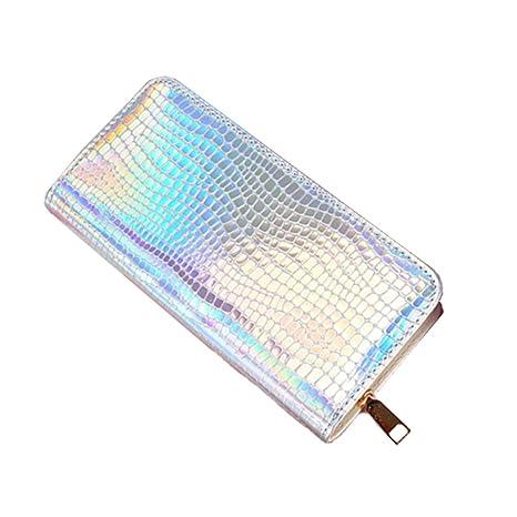OULII Moda serpiente piel larga cartera cremallera holográfica cartera monedero bolso monedero para mujeres niñas (