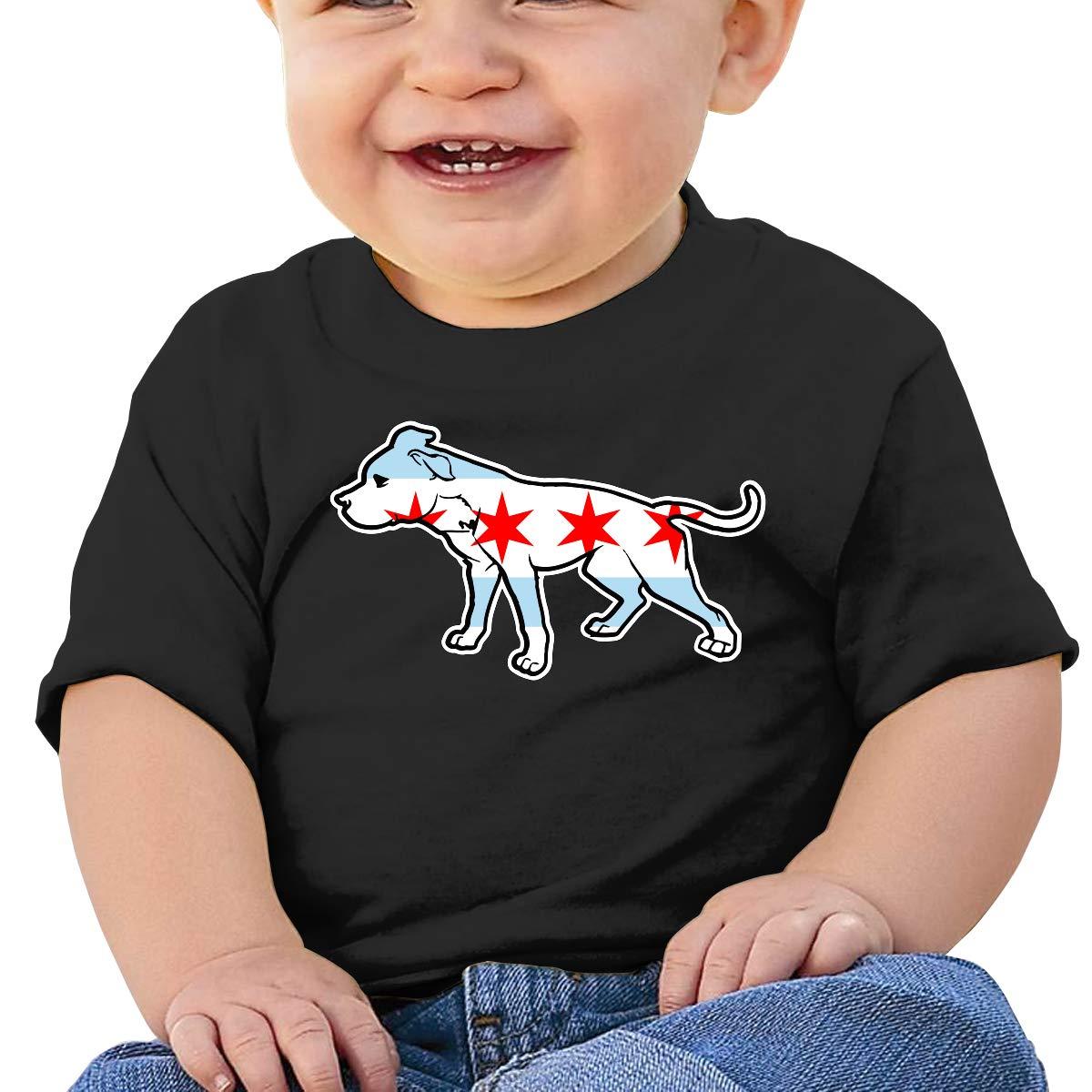 ZUGFGF-S3 Pit Bull Chicago Flag Baby Boy Girl Newborn Short Sleeve T Shirts 6-24 Month Cotton Tops