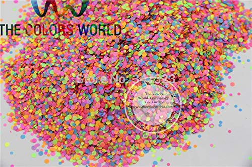 Kamas RN21-60 Mix Neon Color Solvent Resistant Glitter Dot Circle shape Glitter for Nail Polish Acrylic,DIY supplies - (Color: 200g)