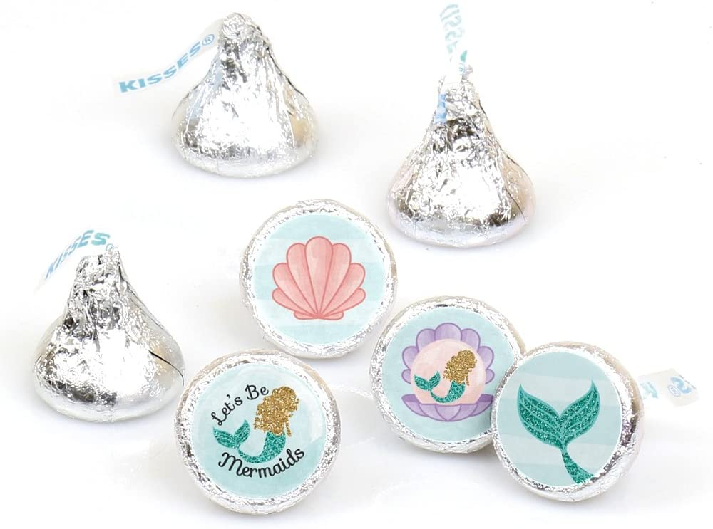 108 MERMAID Birthday Party Favors Stickers Labels for Hershey Kiss