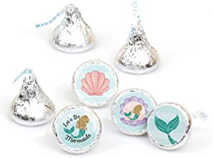 Let's Be Mermaids - Baby Shower or Birthday Party Round Candy Sticker Favors - Labels Fit Hershey's Kisses (1 Sheet of 108)