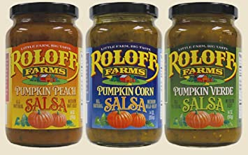 Roloff Farms Pumpkin Salsa Variety Pack (Peach, Corn, and Verde), 14