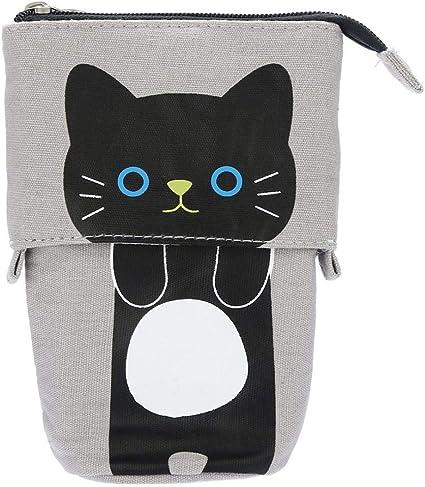 Pondkoo - Estuche plegable para lápices, diseño de gato con dibujos de dibujos animados, color D: Amazon.es: Oficina y papelería