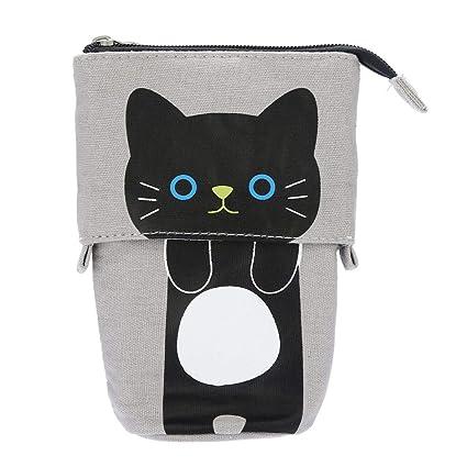 Pondkoo - Estuche plegable para lápices, diseño de gato con dibujos de dibujos animados,