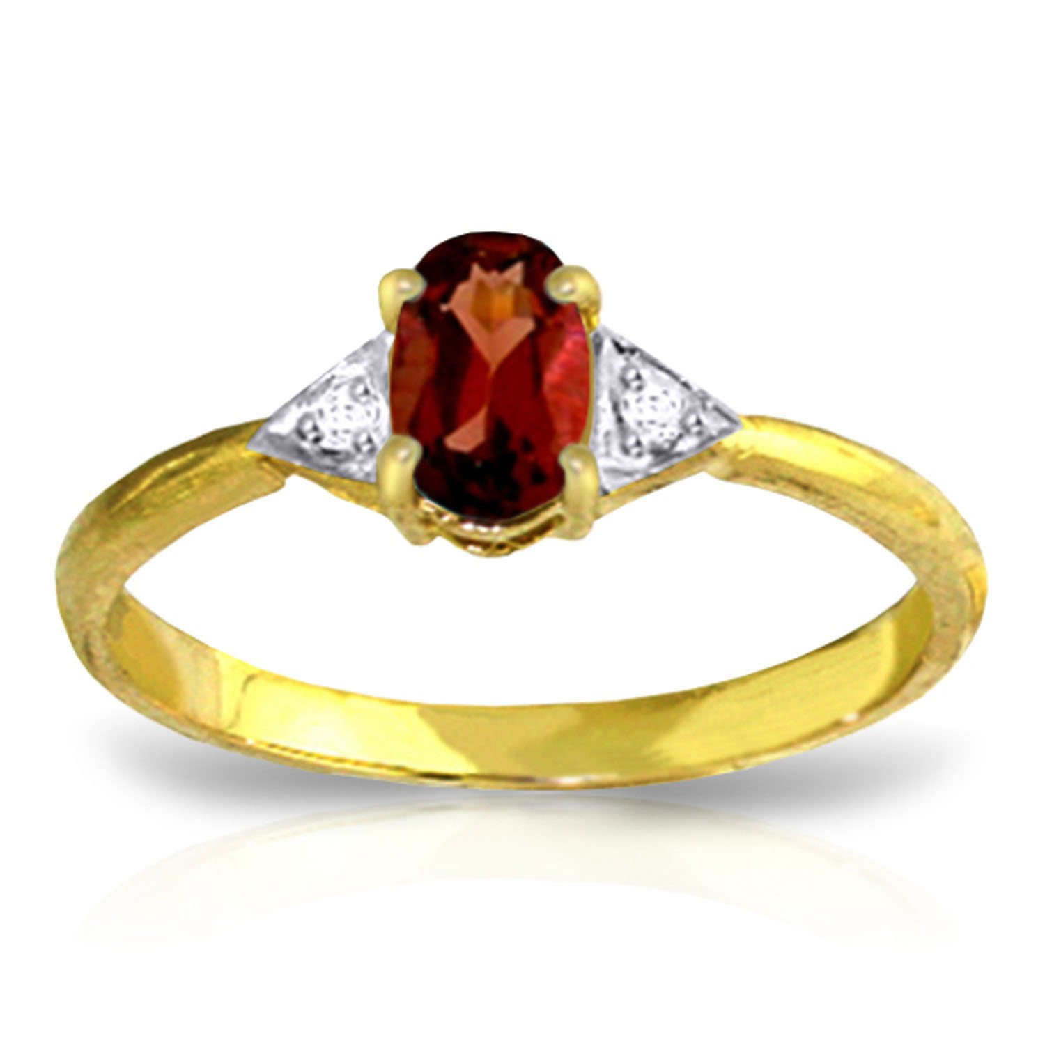 0.46 Carat 14k Solid Gold Ring with Genuine Diamonds and Natural Oval-shaped Garnet