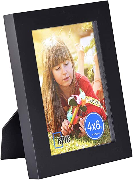 RPJC 4x6 inch Picture Frame Made of Solid Wood and High Definition Glass for Table Disply and Wall Mounting Photo Frame Dark Brown