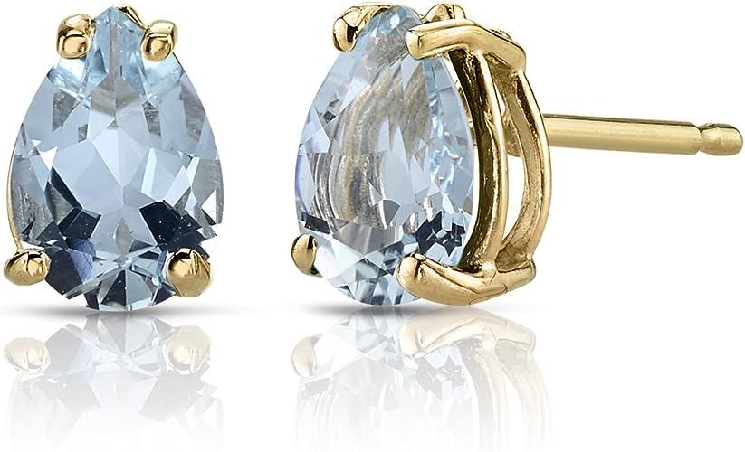 created teardrop Peridot stud small earrings Elegant 14k solid yellow gold lab