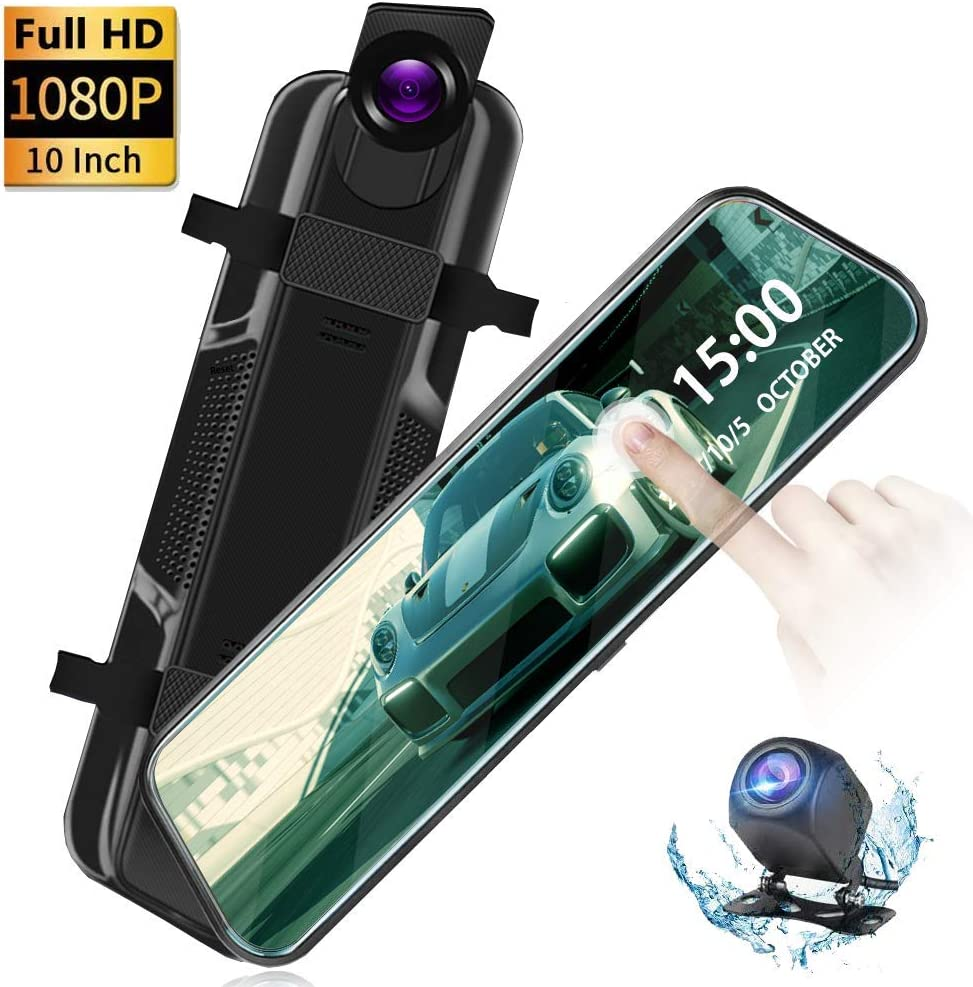 """10"""" Dual Lens Mirror Dash Cam Firehorse Touch Screen Car DVR Front and Rear Mirror Camera Video Recorder 1080P, 2 Camera,Driving Recorder …"""